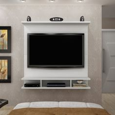 Panel for TV up to 42 Inches Bari Novo Horizonte Branco - TV panel - Panel for TV up to 42 Inches Bari Novo Horizonte Branco – TV panel until - Living Room Partition, Living Room Wall Units, Tv Cabinet Design, Tv Wall Design, Bedroom Tv Wall, Small Room Bedroom, Lcd Unit Design, Mt Design, Small Tv Unit