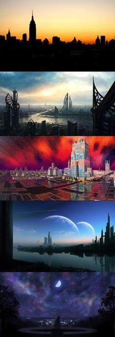 cityscapes, silhouette, dance, science, art, desktop, digital, fiction, city, background, planets, space, wallpapers, wallpaper Cityscape Silhouette, City Background, Portfolio Ideas, Science Art, Cityscapes, Planets, Northern Lights, Fiction, Desktop