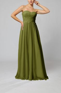 Olive Green Glamorous Sweetheart Sleeveless Zip up Floor Length Pleated Wedding Guest Dresses - iFitDress.com
