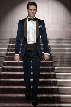 03287434c291 Fashion Style One Button Navy Blue Groom Tuxedos Groomsmen Men s Wedding  Prom Suits Bridegroom (Jacket+Pants+Girdle+Tie)