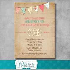 Shabby Chic First Birthday Invitation  by OohlalaPoshDesigns, $20.00