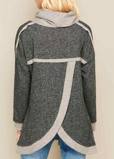 Cowl Neck Asymmetric Hem Long Sleeve Patchwork Sweatshirt.