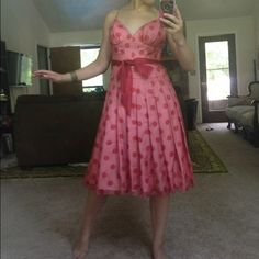 Pink and red polka dot dress Cocktail dress perfect for pin up or prom! Dresses Prom