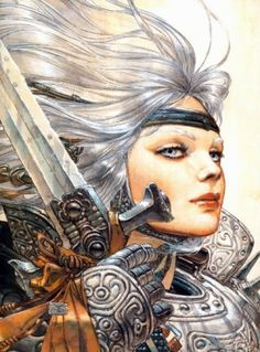 Beautiful woman warrior with intricate full plate armor, sword, silver grey hair, fierce expression. Great Science Fiction Art by Juan Gimenez. Fantasy Kunst, Fantasy Art, Fantasy Characters, Female Characters, Chevalier Vampire, Illustrations, Illustration Art, Celtic Prayer, Science Fiction Kunst
