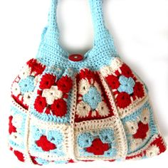 Bag. Crochet bag. Purse. Crochet granny bag in cotton. Fully lined with pocket and button and loop fastening. Hand crocheted