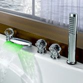 Found it at Wayfair - Triple Handle Deck Mount LED Waterfall Tub Faucet with Handshower