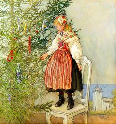 Carl Larsson 'Christmas Confectionery Decorations' (Julgranskonfekt) (aka Christmas Tree Confetti or Decorating the Tree) 1917
