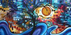 Abstract Art Original Landscape MELLOW YELLOW - Megan Duncanson