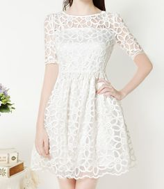 Confirmation Dress Vintage Round Neck Floral Pattern Short Sleeve Women's White Lace Dress/Sammydress.com