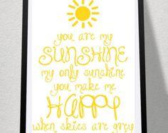 You are my sunshine printable art sunshine by PlatypusPrintables
