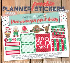 Free Printable Free Santa Planner Stickers from Dorky Doodles
