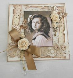 Sweet Girl ~ Lovely monochromatic page embellished with lace, buttons, bows and dimensional flowers. The grungy inked and distressed edges keeps it from looking too sweet!