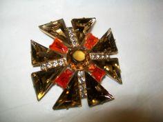 Large Juliana Maltese Cross Brooch Amber Triangle Rhinestones Orange Keystone