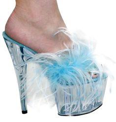 Women Light Blue Turquoise White Fur Backless Slip-On Clear Bottom Dancer Heels    eBay