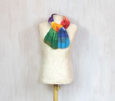 Colorful cotton scarf, crochet soft wrap, rainbow, neck warmer, soft, yarn, spring accessory - pinned by pin4etsy.com