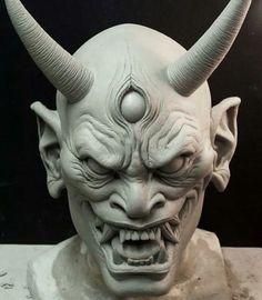 Japanese Hannya demon mask sculpted by artist Norman Cabrera Hannya Tattoo, Mask Tattoo, Sculptures Céramiques, Sculpture Art, Mascara Oni, Japanese Demon Mask, Oni Demon, Oni Mask, 3d Mode