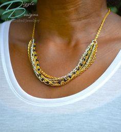 Multi Chain Gold / Bronze Tone Necklace w/ Geniuine Semi Precious Blue Gold Stone by DizzleDesigns on Etsy Urban Chic, Blue Gold, Beaded Necklace, Chain, Stone, Diamond, Silver, Etsy, Jewelry