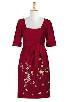 I <3 this Floral embellished A-line retro frock from eShakti