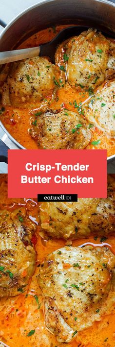Butter Chicken - Crisp-tender with the creamiest sauce ever – You'll go crazy over this comforting dinner! Butter Chicken, Chicken Crisps, Chicken Sauce, Keto Chicken, Meat Recipes, Indian Food Recipes, Chicken Recipes, Cooking Recipes, Healthy Recipes