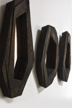 Mirror #1 #2 et #3 by Denis Milovanov.  Solid oak wood, chain saw, finished: linseed oil bath
