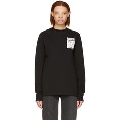 Hood By Air Black 'wench' Lamb T-shirt Hood By Air, Collar And Cuff, Rib Knit, Lamb, Crew Neck, Knitting, Sweatshirts, Long Sleeve, Sweaters