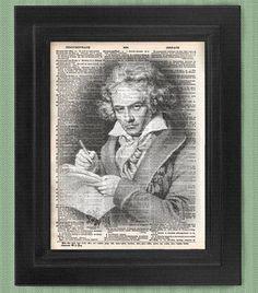 Ludwig van Beethoven, art print, dictionary Art, Book Art, wall Decor, Wall Art Mixed Media Collage on Etsy, $7.99