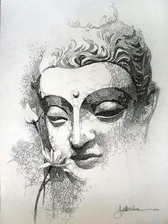 50 brillante Buddha Tattoos und Ideen mit Bedeutung Art and visuals Art Buddha, Buddha Drawing, Buddha Face, Buddha Painting, Buddha Tattoo Design, Buddha Tattoos, Art Du Croquis, Art Visage, Art Drawings Sketches