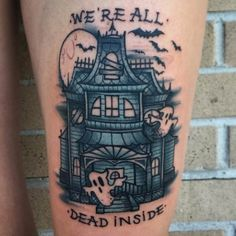 Haunted house tattoo by Ant Walsh