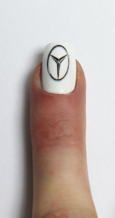 Mercedes badge, get your car logo on a set of nails with us #nails #nailart #car #badge #logo #white