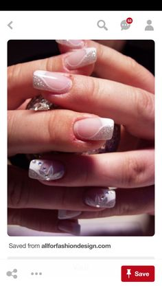 27 Nail Art Ideas And Nail Designs Best Picture For wedding nails baby boomer For Your Taste You are looking for something, and it is going to tell you exactly what you are looking for, and you didn't Fancy Nails, Cute Nails, Pretty Nails, Sparkly Nails, Wedding Day Nails, Bridal Nails, Fabulous Nails, Gorgeous Nails, Nagellack Party