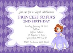 Sofia Sophia the 1st  Princess Birthday nvitation DIY Printable 5x7 Personalized. $10.00, via Etsy.