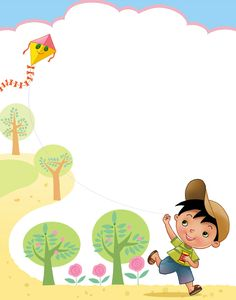 Boy Flying Kite Border