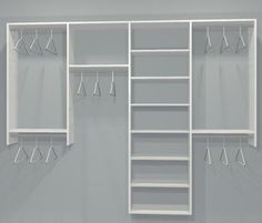 reach-in closet layouts for his and her | STANDARD CLOSET KIT W/ SHELVING (4 SECT.) (6-9.5ft)