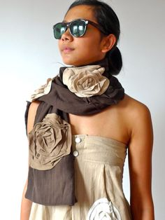Chic Floral Scarf Shawl/Wrap in Brown with Khaki Flower Cotton #Handmade #Scarf