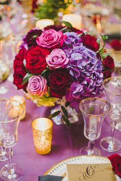 Purple Wedding Flowers glam red and purple centerpiece Purple And Gold Wedding, Purple Wedding Centerpieces, Purple Wedding Flowers, Rose Wedding, Purple Centerpiece, Purple Wedding Arrangements, Purple Wedding Tables, Wedding Black, Purple Rose