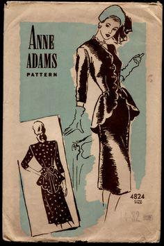 """Anne Adams 4824 - 40's peplum dress- 36"""" bust"""