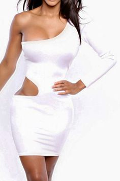 Sexy One-Sleeved Cut-out White Club Dress