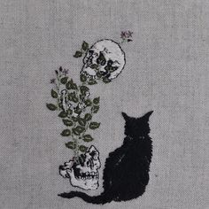 adipocere:  Hand embroidery on natural linen.  http://shop.lightgreyartlab.com/