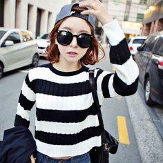 Qnigirls New Womens Stay Anju Cropped Striped Knit Sweater Cute Lovely Style #Qnigirls #Crewneck