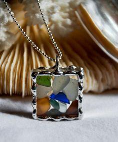 Beach Glass Soldered Pendant   Framed Glass by GreatLakesAllure