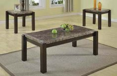 Dwayne Gray Wood Marble Coffee Table Set