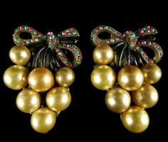 Vintage Dress Clips Gold Tone Faux Pearl and Rhinestones | eBay