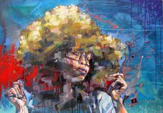 Erykah Badu portrait | original artwork painted on canvas - 100x70cm
