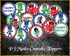 PJ Masks Cupcake Toppers Pj Masks Cupcake Toppers, Pj Mask Cupcakes, Cricut Cards, Etsy Store, Your Design, Card Stock, Vibrant Colors, Banner, Happy Birthday