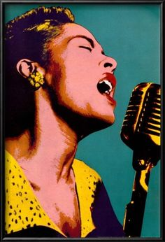Billie Holiday Blue Pop Art Music Poster Lamina Framed Poster