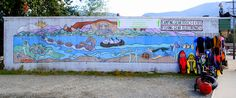 Mural at Lake Cowichan, BC. I assume that it is meant to illustrate the mythological history of the lake.
