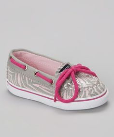 Take a look at this Pink & Gray Safari Stripe Biscayne Boat Shoe by Sperry Top-Sider on #zulily today!