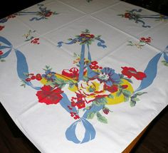 1950s Blue Ribbon and Flowers Table Cloth 50 by Klassyglassandmore