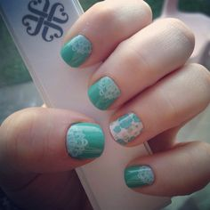 Love my latest Jamicure! Hint of Mint lacquer under Touch of Lace with a Destiny accent nail Jamberry nail wraps