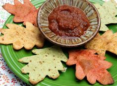 Baked Tortilla Leaves - Thanksgiving appetizers using leaf shapes - Christmas appetizers using star or other holiday shapes